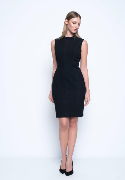 Mesh Trimmed Sleeveless Dress