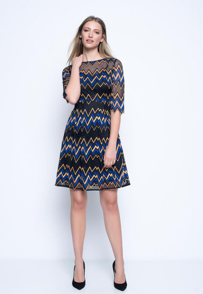 Three Quarter Sleeve A-Line Dress