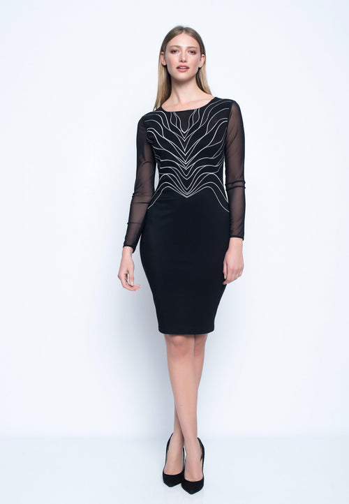 Long Sleeve Embellished Mesh Dress