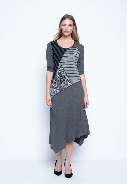 ¾ Sleeve Fabric Combo Dress