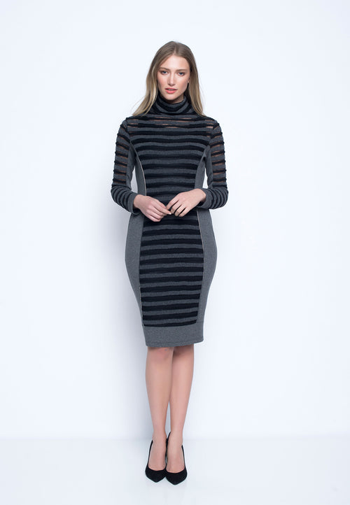 Draped Neck Long Sleeve Dress