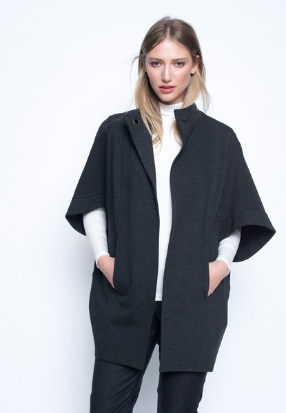 One Button Cocoon Jacket With Pockets