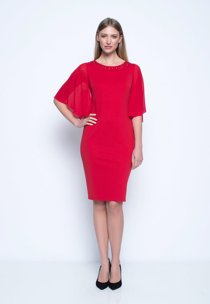 Embellished Dress With Butterfly Sleeves - PERFECT FOR THE HOLIDAYS ... e56873674