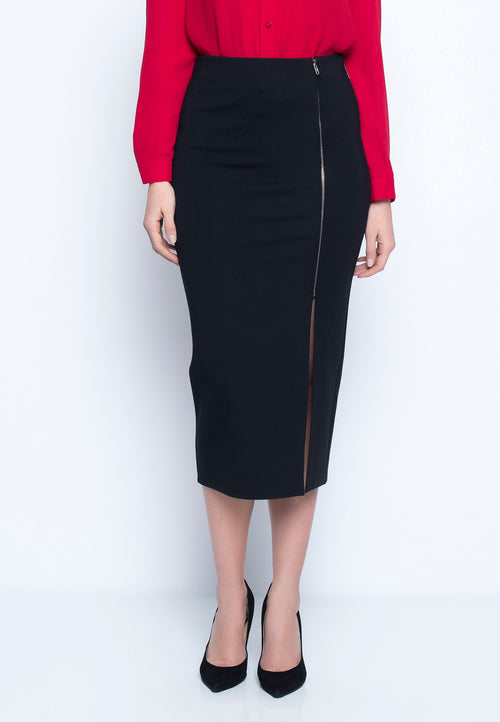 Side Zip Front Midi Skirt