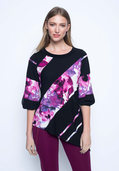 Slit Sleeve Top With Asymmetric Hem