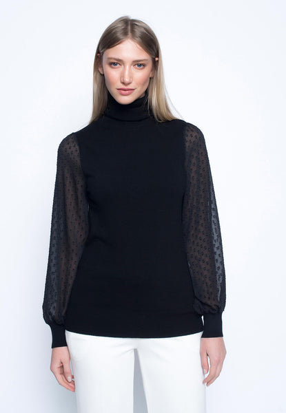 Turtleneck Sweater With Contrast Sleeves