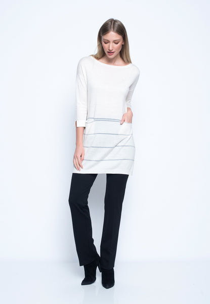 Metallic Stripe Sweater Knit With Pockets