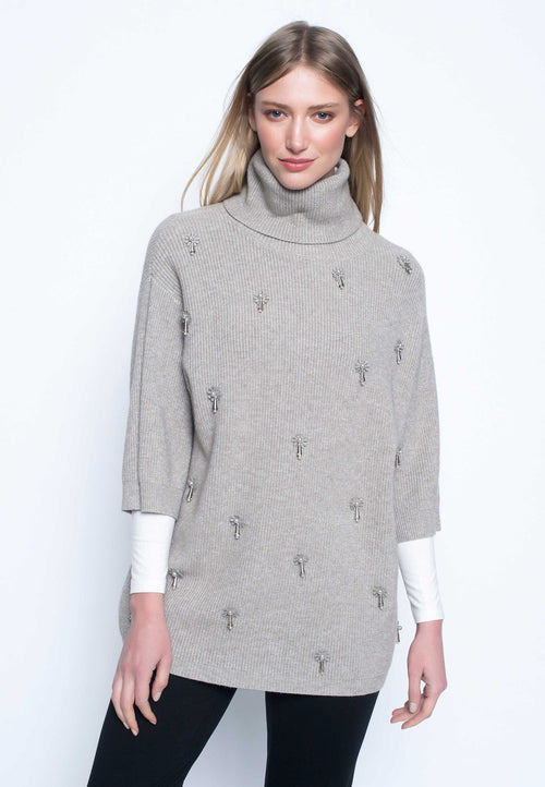 Embellished Turtleneck Sweater
