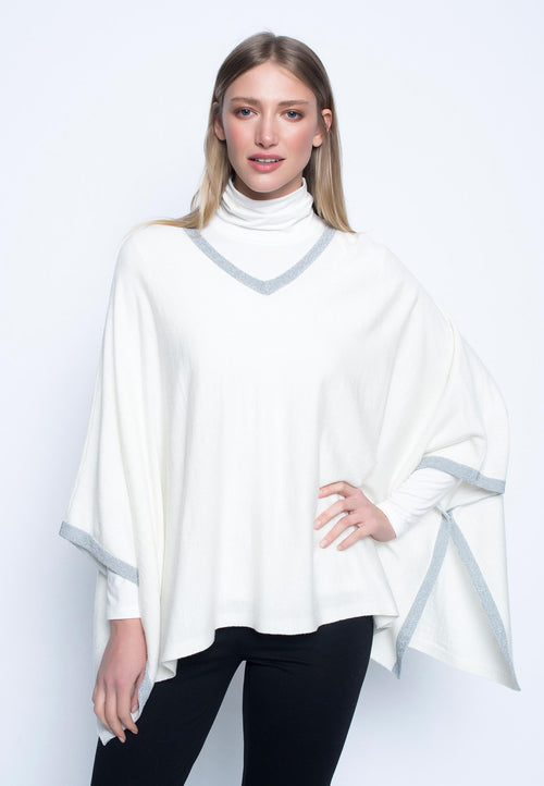 Metallic Trim Sweater Knit Poncho