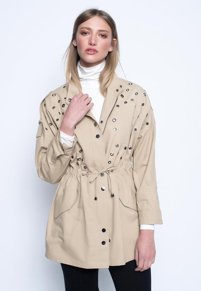 Eyelet Embellished Zip Front Jacket