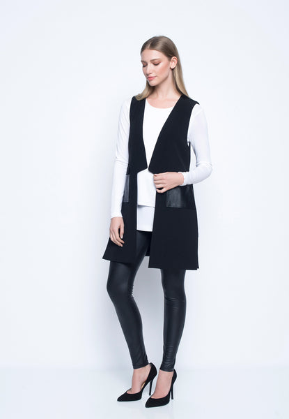 Open-Front Vest With Pockets
