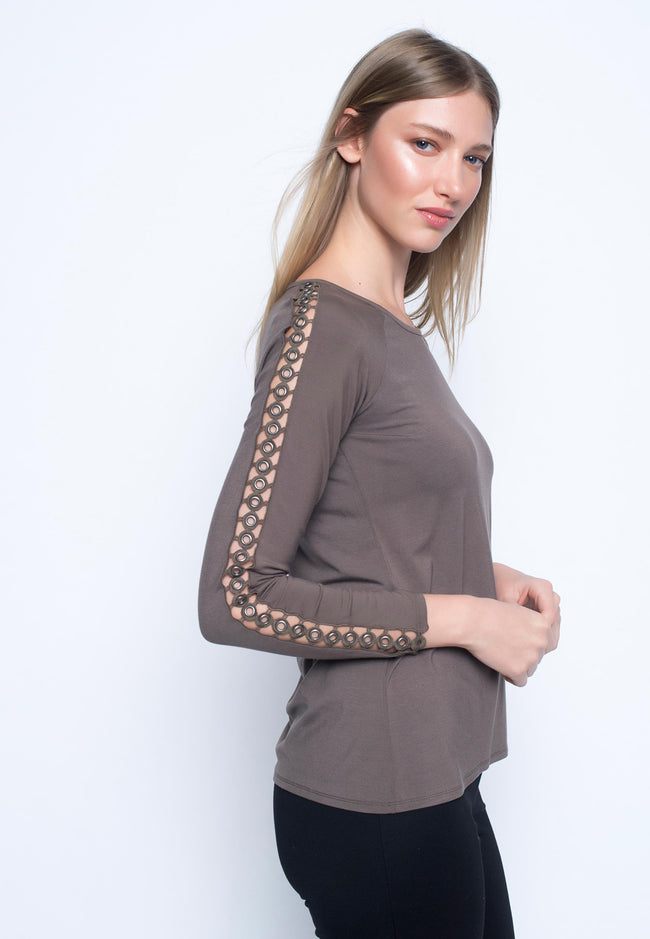 Long Sleeve Embellished Cold Shoulder Top
