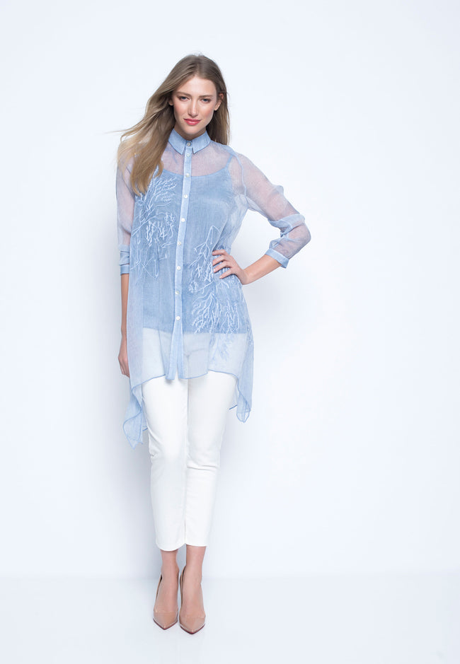 Button-Front Chiffon Blouse