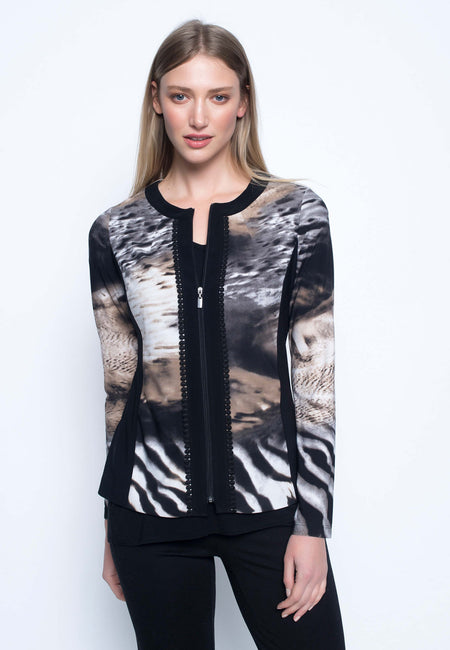 Net Insert Zip-Front Jacket