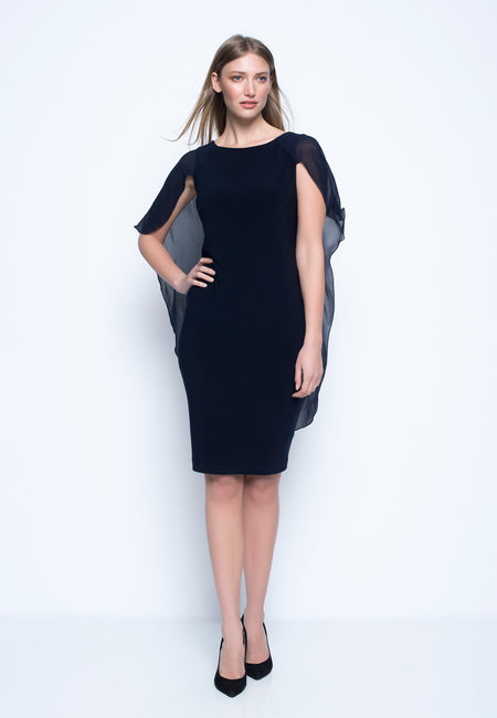 ¾ Sleeve Dress With Boat Neckline