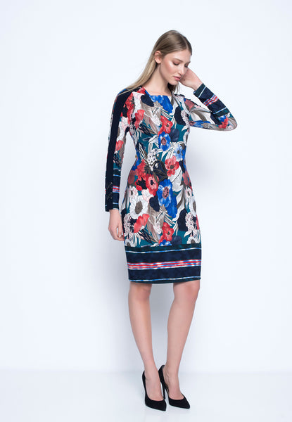 Buckle Trimmed Long Sleeve Dress