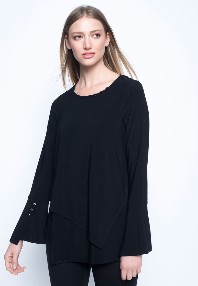 Bell Sleeve Top With Asymmetrical Hem