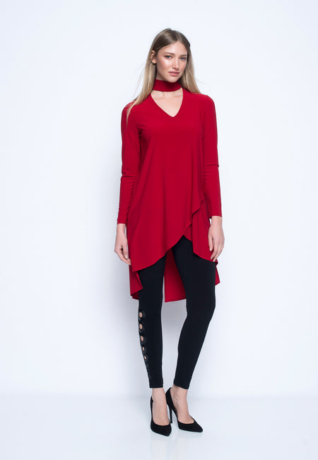Long Sleeve Draped Neck Top With Pockets