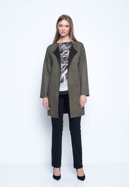 Faux-Suede Drop Shoulder Jacket