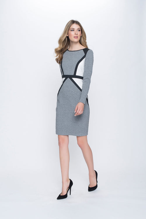 3/4 Sleeve Contrast Inset Dress