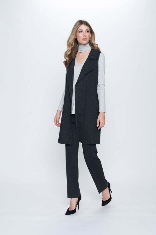Draped Vest with Embellished Pockets