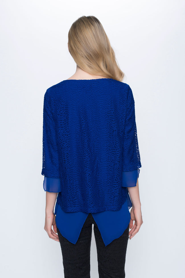 V-Neck Chiffon Hem Top