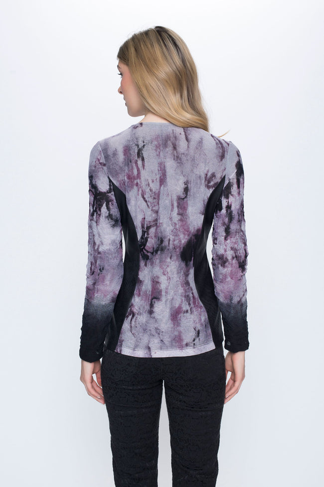 Zip Front Jacket with Contrast Print
