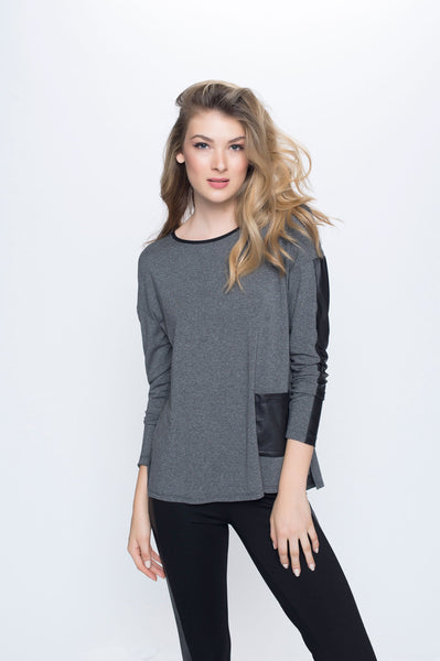 Contrast Trim Long Sleeve Top with Side Slit