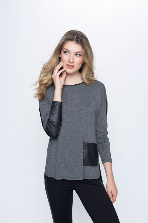 Contrast Trim Long Long Sleeve Top with Side Slit