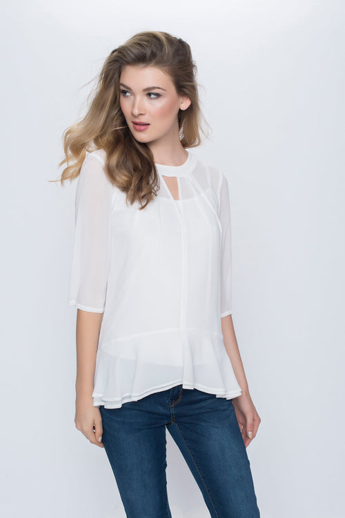 3/4 Sleeve Flared Top with Keyhole