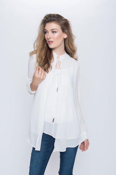 Chiffon Layer Top with Drawstring Neck Tie