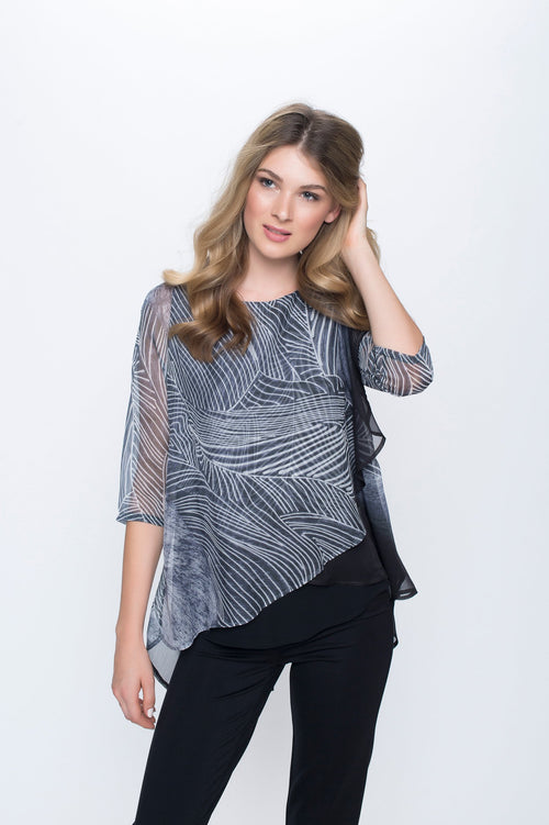 Chiffon Layer Split Back Top