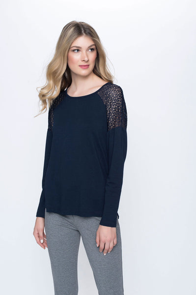 Lace Trim Top with Side Slits