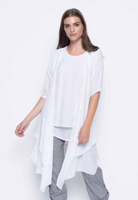 Short Sleeve Pointed Hem Tunic