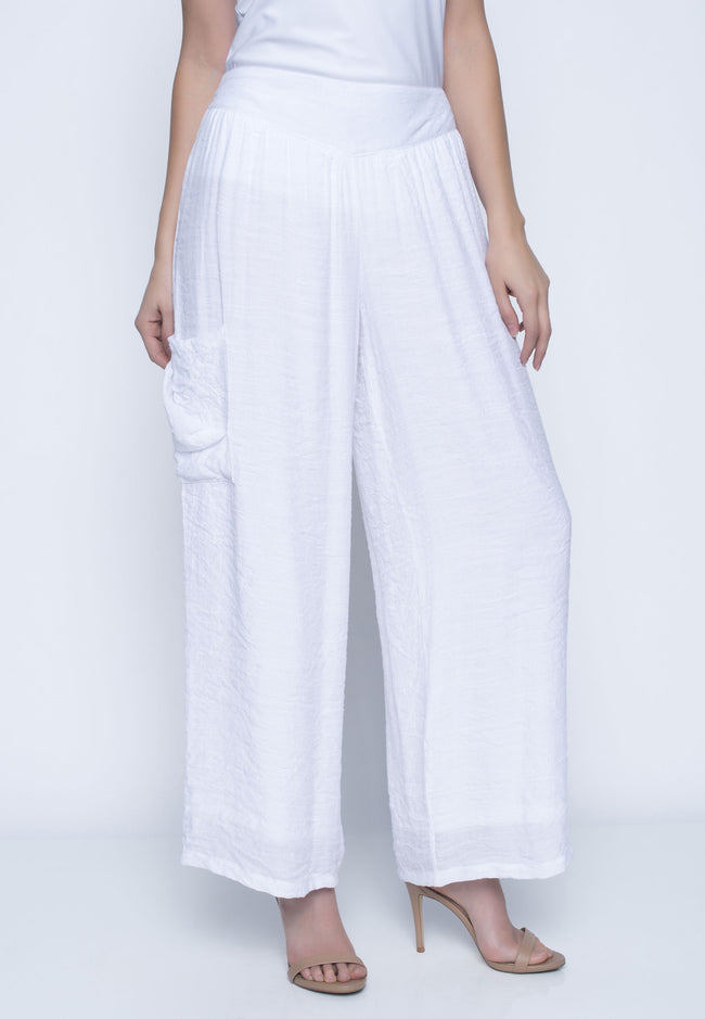 Flowy Pants With Draped Pockets
