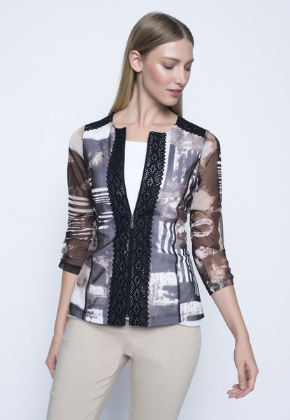 Zip Front Ruched Sleeve Jacket