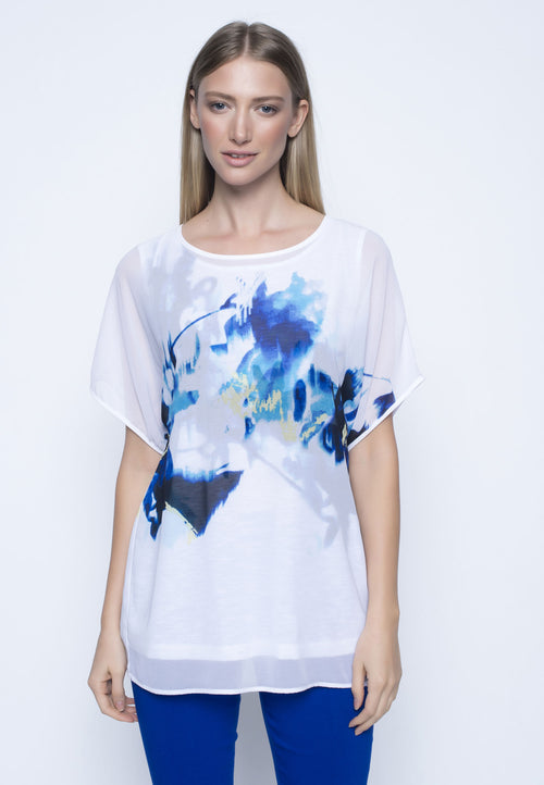 Chiffon Overlay Butterfly Sleeve Top