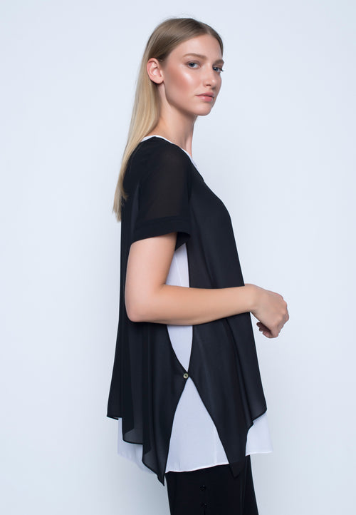 Short Sleeve Chiffon Overlay Top