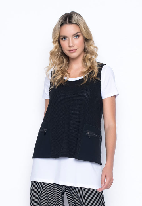 Contrast Trim Tank With Pockets by Picadilly Canada