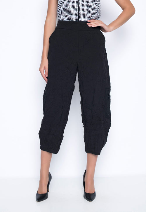 Side-Pockets Balloon Pants in black by Picadilly Canada