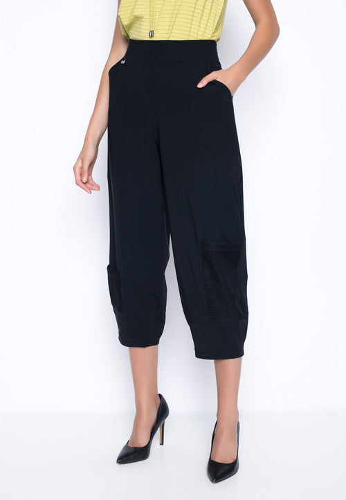 Open-Knit Trim Balloon Pants