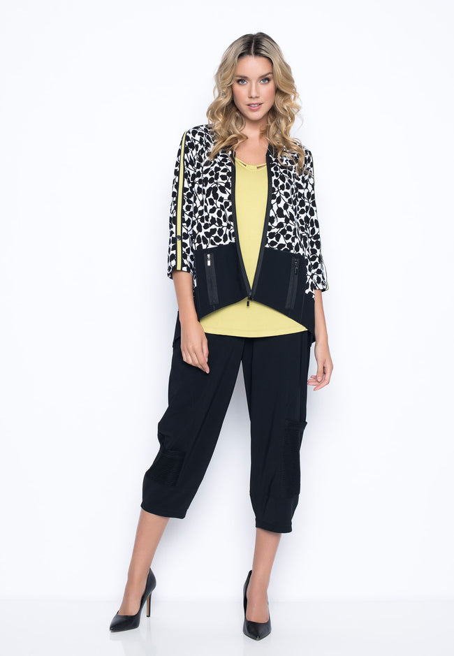 outfit featuring the Open-Knit Trim Balloon Pants by Picadilly Canada