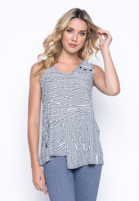 Stripe Flared Tank With Ruffle