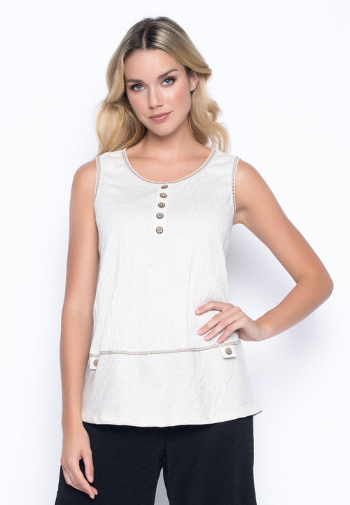 Button Trim Tank by Picadilly Canada