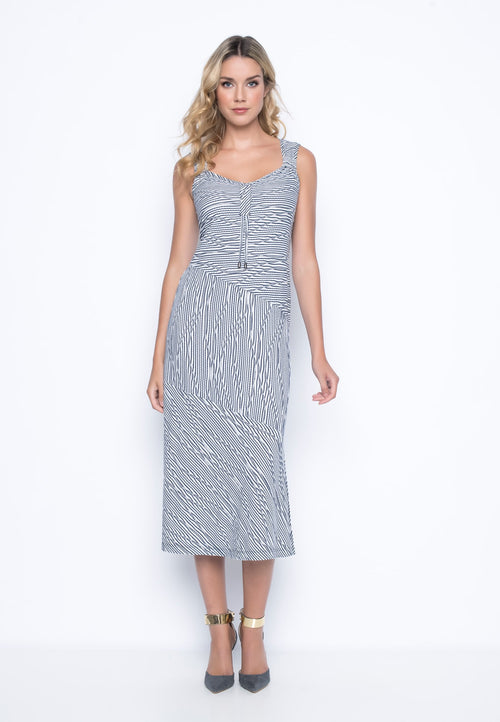 Multi Seam Sleeveless Dress with Drawstrings by picadilly canada