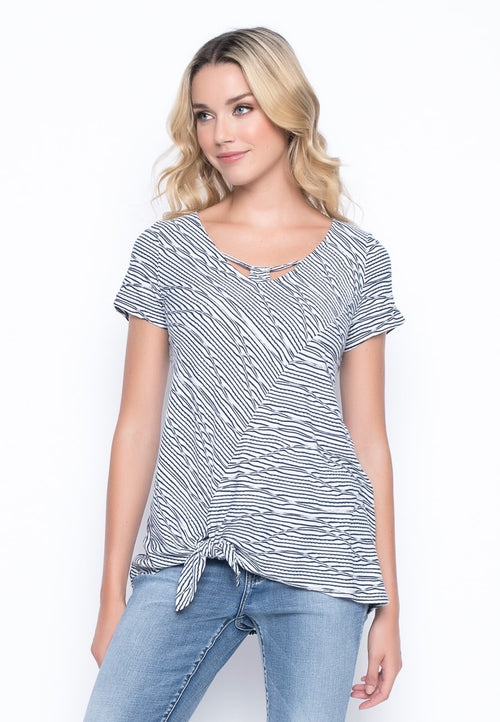 Short Sleeve Tie Front V-Neck Top by picadilly canada