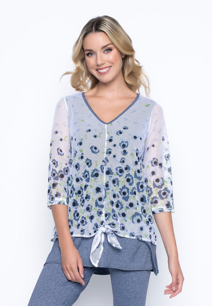Tie Front V-Neck Top by picadilly canada