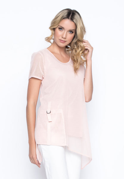Short Sleeve Asymmetric Hem Top in Pastel Coral by Picadilly Canada