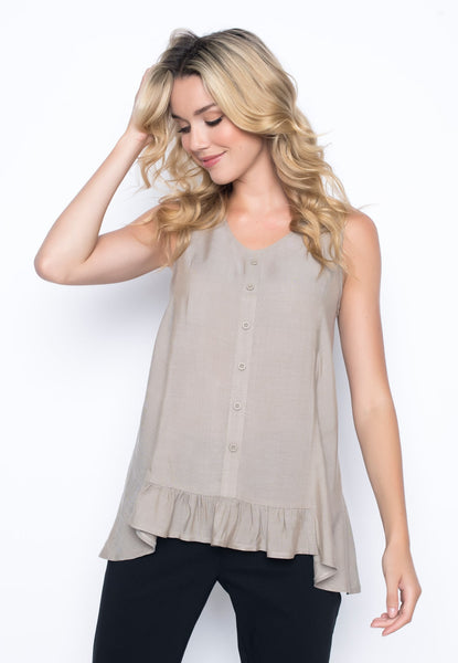 Flared Tank With Ruffle by picadilly canada
