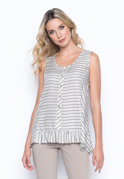 Stripe Flared Tank With Ruffle by Picadilly Canada